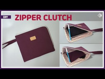 DIY/ ZIPPERED CLUTCH BAG/ TABLET ZIPPER POUCH/ CLUTCH WRISTLET BAG/ 지퍼 클러치 만들기/ sewing/ tutorial