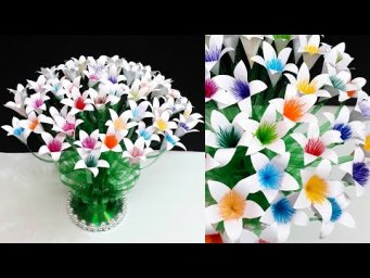 DIY flowers Bouquet/Guldasta made with Empty Plastic bottles|DIY room decoration idea