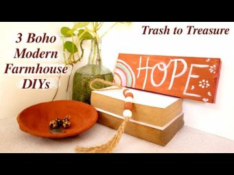 3 Boho Modern Farmhouse Decor DIY / Trash to Treasure / MomDas Life Handmade / make it new