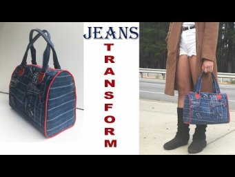 DIY BAG/JEANS HAND BAG/OLD JEANS TRANSFORM INTO A STYLISH BAG/JEANS PURSE BAG DESIGN/RECYCLING IDEAS