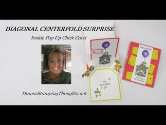 DIAGONAL CENTERFOLD SURPRISE  Inside Pop Up Chick Card
