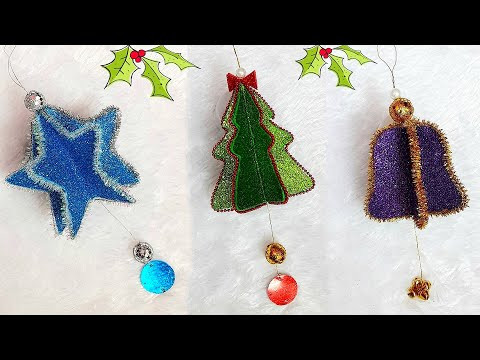 3 types Christmas tree ornament making ideas | Easy Economical Christmas craft idea