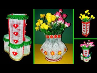 3 Beautiful organizer/flower vase made with Plastic Canvas step by step | Plastic canvas craft idea