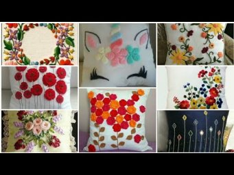 Top Latest Hand Embroidery Flower Cushion Covers Design Ideas / Heavenly Handmade Creations