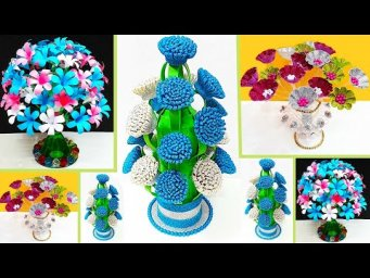3 types of flower Bouquet/Guldasta made with waste Plastic bottle |DIY room decoration idea