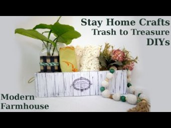 2 Modern Farmhouse Trash to Treasure Spring Organizer Box & Garland DIY Stay Home With Me Crafts