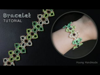 Make a beaded lace bracelet with seed beads and bicone beads. (tutorial)
