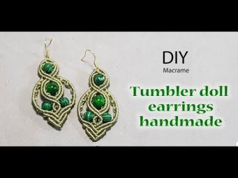 How to make earrings DIY: tumbler doll earrings macrame by Thao handmade channel