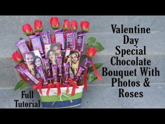 Valentines Day Gift Idea || Valentine's Day Special chocolate Bouquet with Roses n Photos Tutori