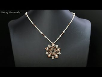 How to make super beautiful beaded necklace (pendant). Jewelry making