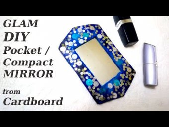 How to Make GLAM POCKET COMPACT MIRROR from CARDBOARD / DIY Pocket Mirror / Trash to Treasure