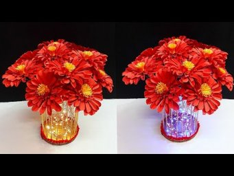 DIY Bouquet with lampshade/lantern made from Plastic bottle & Bamboo stick|DIY Room Decoration idea