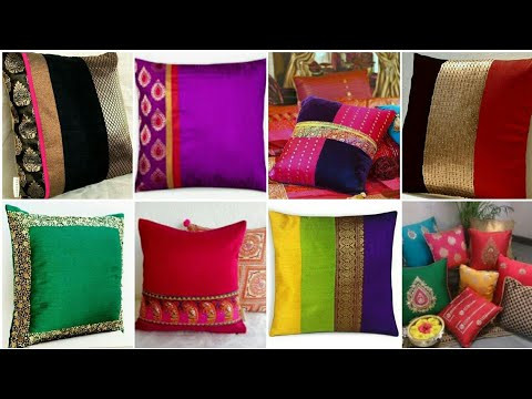 Top Beautiful And Latest Banaras Silk Cushion Covers Designs /  Banarsi Silk Pillow Cover