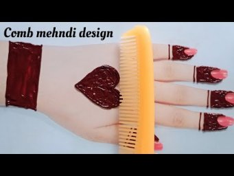 Comb mehndi design with trick_Easy beautiful mehndi designs For Eid_Heart shape Eid mehndi design