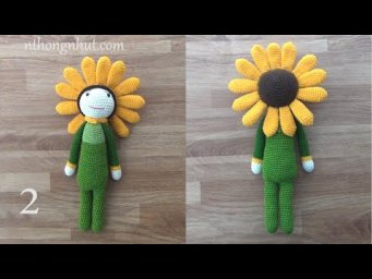 Crochet sunflower doll amigurumi (ENG SUB)