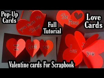 4 Valentine's Day Special Pop-Up cards Tutorial|| Valentine cards For Scrapbook ||pop-up cards
