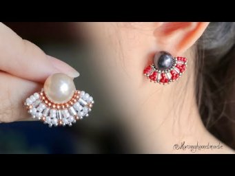 Beaded stud earrings tutorial. How to make earrings