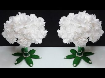 How to make flower Bouquet from Empty Plastic bottle|New Paper flowers Guldasta making idea