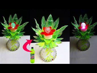 DIY :Showpiece/Tealight holder made from waste Plastic Bottle| room decoration ideas