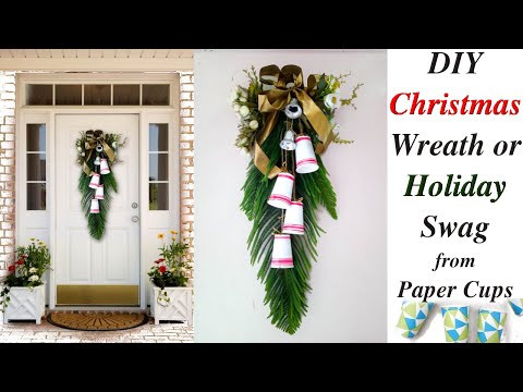 How I made Farmhouse Christmas Swag using Paper Cups / Christmas Front Porch Entryway Decor Wreath