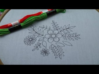 Unique Hand Embroidery Flower Design - Easy Flower Embroidery Tutorial for Beginner - Basic Stitches