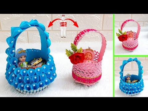 3 Basket made with plastic Bottle & recycled materials| DIY mother's day Gift idea-Best out of w