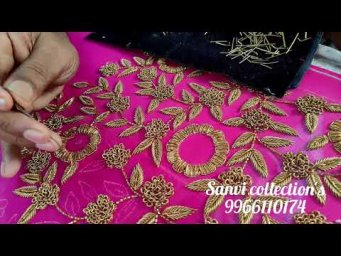 antique zardosi flowers #bridal works #elegant designs #heavy work with antique #classy patterns