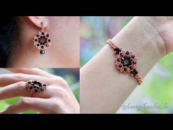 Endless passion jewelry set. How to make beaded jewelry. Earrings, bracelet & ring. Beading tutorial