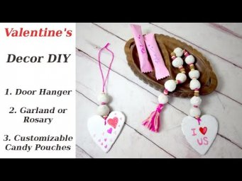 DIY Valentine's Heart Door Hanger Rosary Garland Candy Pouch Sachet Easy Projects