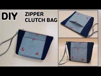 DIY ZIPPER CLUTCH BAG / Wrist bag / Zipper pouch / sewing tutorial [Tendersmile Handmade]