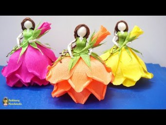 Rose fairy doll from crepe paper tutorial | DIY paper rose fairy doll , making doll at home