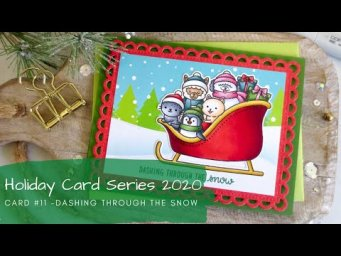 Holiday Card Series 2020 #11 | Copic Coloring + Patterned Paper Background | Sunny Studio Stamps
