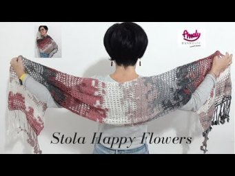 Stola Sciarpa uncinetto - Happy Flowers crochet