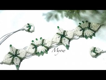 WHITE FLOWERS AND GREEN LEAVES - MACRAME BRACELET TUTORIAL- MYOW 159