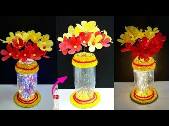 Bottle showpiece unique craft ideas|DIY carry bag flower Bouquet made with Light from Plastic bottle