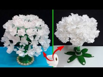 DIY 2 flower Bouquet made From Plastic bottles &  tissue roll |DIY home decoration idea