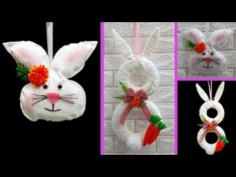 2 Economical Easter Bunny wreath made with waste materials |DIY Low budget Easter décor idea (Part4)