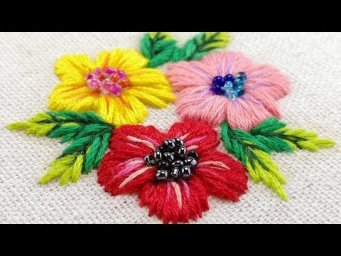 Hand Embroidery for Beginners - Satin Stitch Flower [Free Pattern]