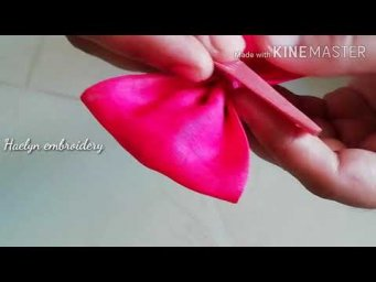 How to make fabric bows/DIY hair accessories / hand embroidery /haelyn embroidery
