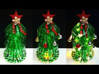 DIY Handmade Christmas tree made with plastic Bottle at home|Easy Economical Christmas craft idea