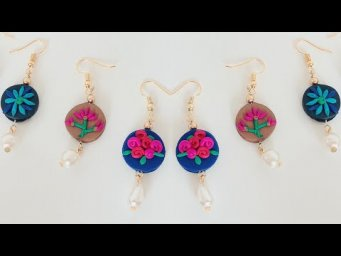 3 easy and beautiful earrings /polymer clay earrings /how to make simple clay pearl drop earrings