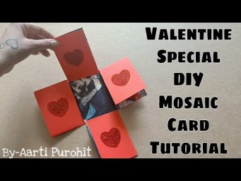 Mosaic Card Tutorial||Best Photo Fold card For Valentines Day Scrapbook Making||