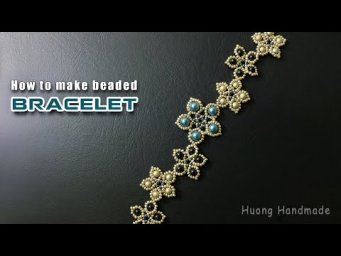 Beaded bracelet with seed beads and pearls tutorial. Jewelry making. Free pattern