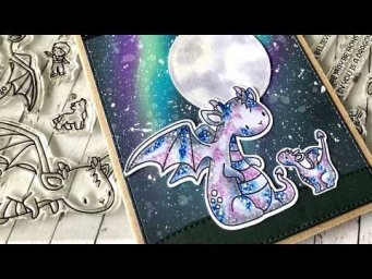 Mama Elephant Dragons - Aurora Galaxy Background and Dotted Coloring Techniques
