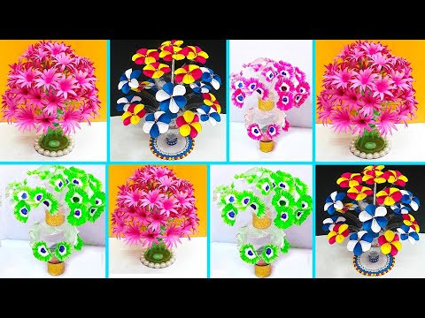 DIY-3 types of flower bouquet /Guldasta made with  plastic bottle at home | DIY room décor idea