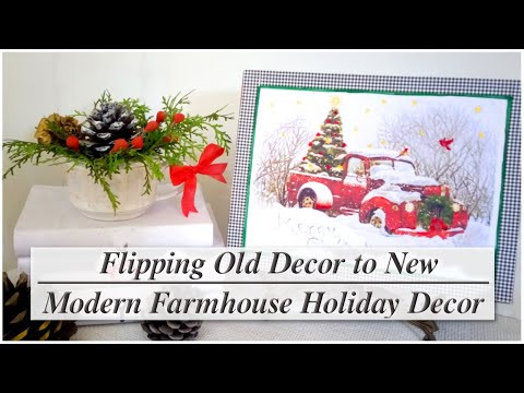 Modern Farmhouse Winter Christmas Holiday Decor DIY / Before & After / MomDas Life Handmade
