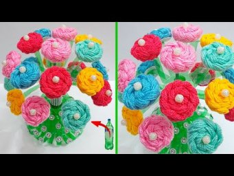 Flower Bouquet made with waste plastic bottle and wool | DIY Room Decoration idea