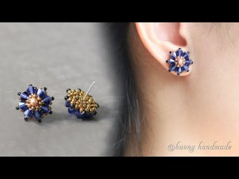 Moonlight beaded stud earrings. Simple and easy to make beaded jewelry
