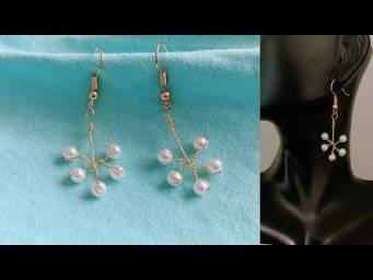 diy earrings/how to make simple wire wrapped pearl earrings/wire wrapped earrings/handmade earrings