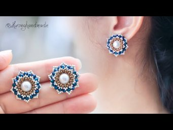 Lotus stud beaded earrings. Mother's day gift ideas. How to make earrings